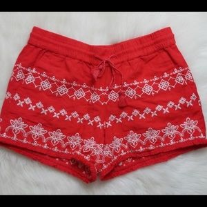 NWT LOFT Red Shorts with White Embroidery